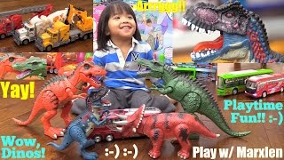 Dinosaur Toys with 3D Projector. T-Rex, Spinosaurus and Triceratops. Construction Trucks and Toy Bus