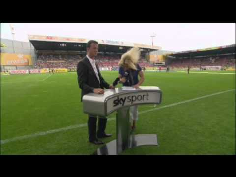 Sky TV Presenter gets hit by soccer~