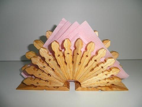 Servilletero de pinzas de madera tutorial wooden pegs - Manualidades con maderas ...