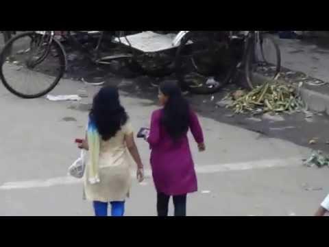 Two Girls Are Crossing Road At kolkata