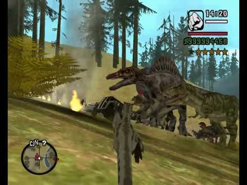 GTA San Andreas - Dinosaur and King Kong vs COPS + CJ + Billy