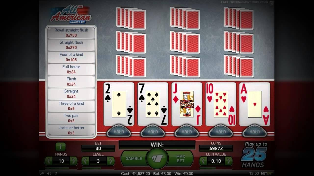 Видео покер онлайн: игровой автомат All American Double Up - Video Poker - NetEnt
