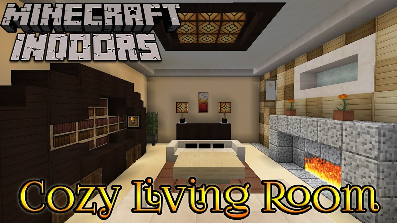 Minecraft indoors interior design cozy living room youtube for Minecraft interior design living room