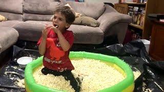 Pool of Popcorn Birthday Surprise || ViralHog