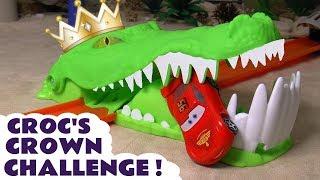 Hot Wheels Croc's Crown Challenge with Disney Pixar Cars 3 Mcqueen and Marvel Superheroes