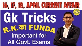 DAILY CURRENT AFFAIRS - 16TH APRIL to 18TH APRIL 2019 – Daily GK Tricks Based on Daily Events