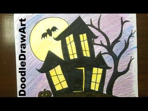 Drawing how to draw a haunted house step by step easy Haunted house drawing ideas