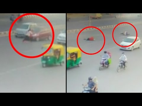 Ahmedabad highway accident caught on CCTV, elderly woman killed by speeding car | Oneindia News
