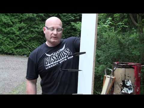 Shooting Throwing Knives With The Slingshot video