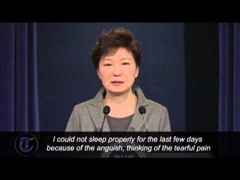Video  South Korea President Park Geun hye weeps during ferry disaster apology