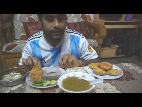 Eating show with sound | eating home made halim and aloo pori with chicken fried