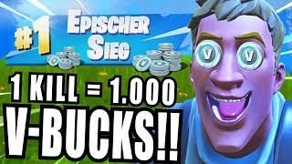 1 KILL = 1.000 *GRATIS* V-BUCKS in Fortnite Battle Royale! (Challenge)