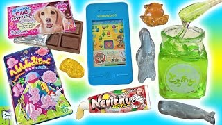 Big Candy Show! Edible Green Slime! Smart Phone Game Candy Puppy Chocolate Doctor Squish