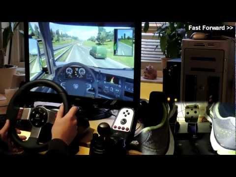 Euro Truck Simulator 2  146 km/h  2500BHP mod  Logitech G27  delivery  crash  feet/pedals cam