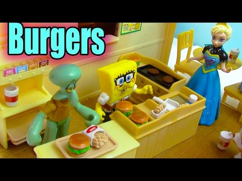 Calico Critters Burger Fries Cafe Playset Queen Elsa Frozen Spongebob Fast Food Restaurant Review
