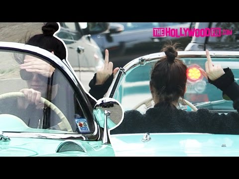 "Kendall Jenner Says ""Fuck You Bitch!"" & Flips Off Paparazzi While Driving Vintage Corvette 3.13.16"