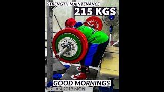 Good Mornings 205 kgs x 2 reps & 215x1   #rhinomight #powerbuilding #strengthtraining