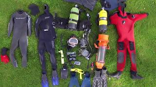 All my diving equipment for scuba diving and free diving