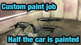 Rebuilding My Clean Title Blown Motor Pt cruiser! Painting Two Tone Custom color From Copart Part 7