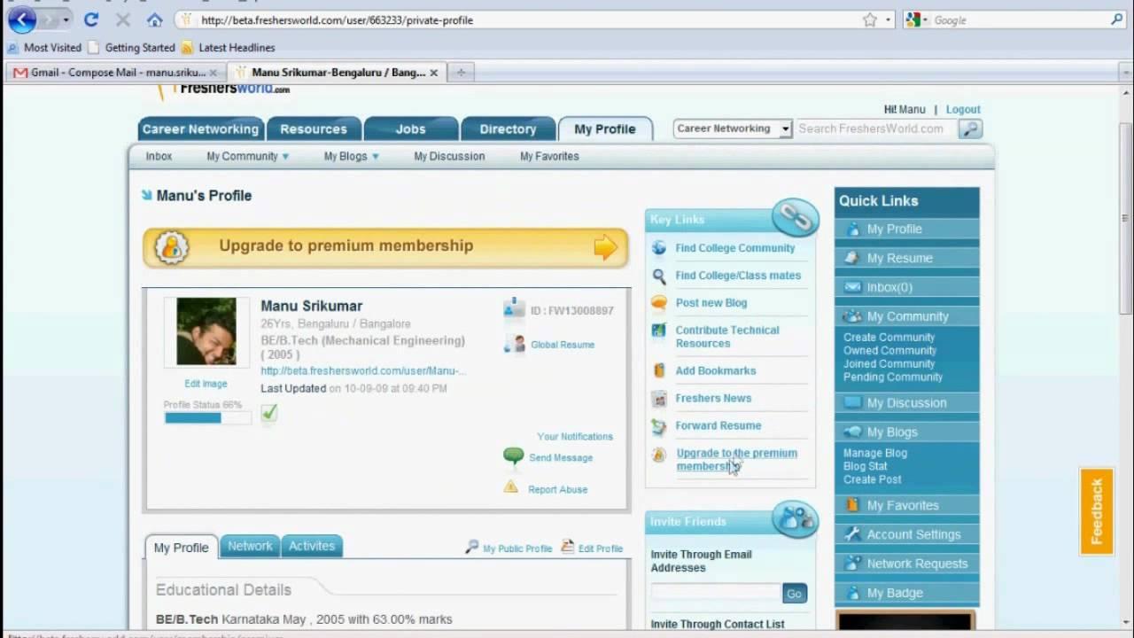 freshersworld tutorial global resume