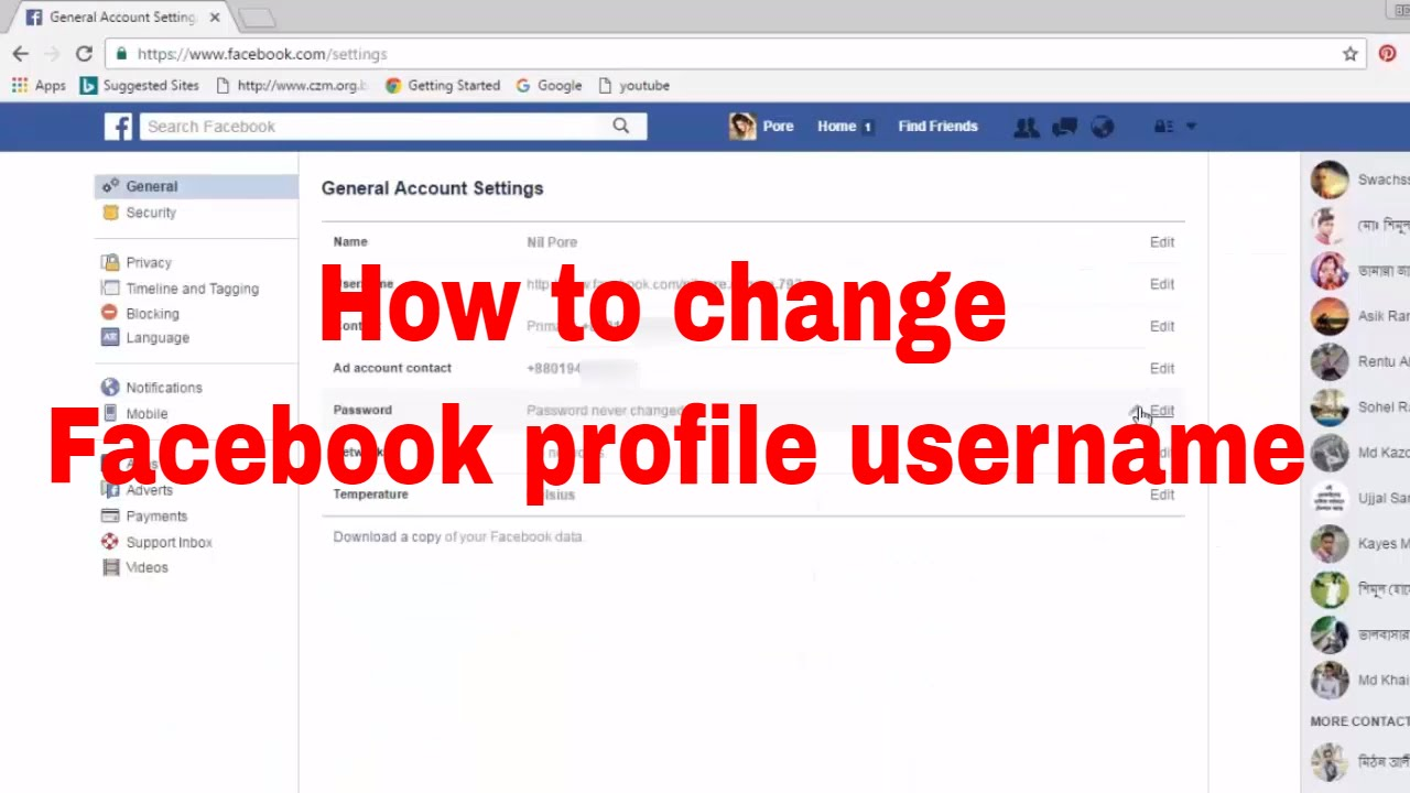 Tutorial Mengganti Username Akun Facebook