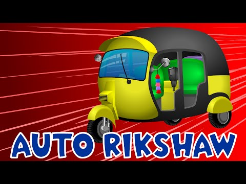 Auto Rickshaw | Tuk Tuk | Cars Cartoon | Construction Vehicles | Cranes | Diggers | Apps for Kids