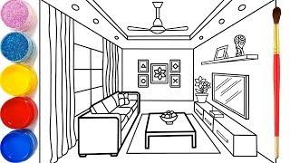 Phòng khách cho bé vẽ và tô màu | Dạy bé vẽ| Dạy bé tô màu| Glitter Living Room Drawing and Coloring