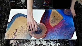 """Multiple Tree Rings on 30""""x15"""" - Fluid Painting"""