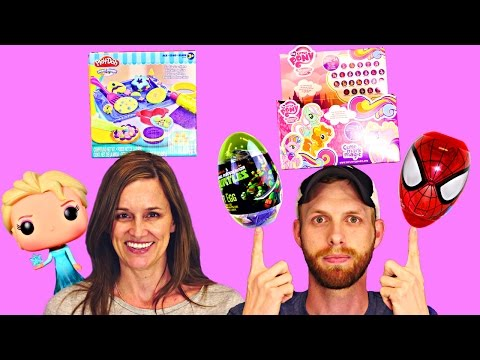 TOY HUNTING DCTC - Surprise Eggs Easter Baskets Play Doh Disney Frozen Hello Kitty Barbie Backpack