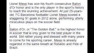 Ballon d'Or winner Lionel Messi - Golden Ballon 2013 winner