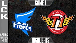AFS vs SKT Highlights Game 1 | LCK Week 6 Spring 2018 W6D3 | Afreeca Freecs vs SK Telecom T1 G1