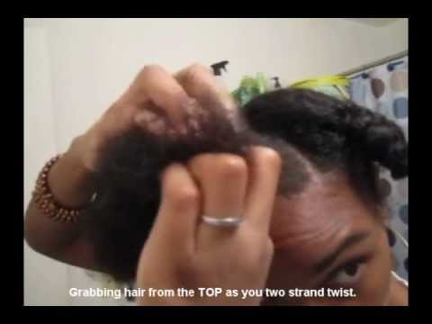 Quick easy Protective Style - Two Strand Flat Twist Bun - Natural Hair