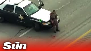 Police officer SHOT during gunfight with suspect