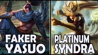 FAKER plays YASUO vs A Korean PLATINUM SYNDRA