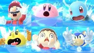 Super Smash Bros Ultimate - All Characters Swimming & Drowning Animations