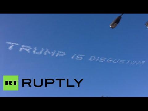 飛行機で空にメッセージ!?トランプ氏を否定する内容が上空に描かれる