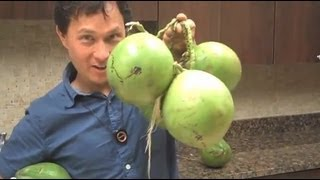 How to Open a Young Green Coconut with a paring knife to get the Water Out