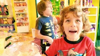 Emrick & Elias Shop Nerf Blaster, Ice Cream Visit a Candy Shop, costume Store | BeaHero Family Vlog