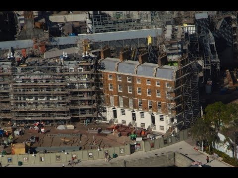 Wizarding World Diagon Alley construction update by helicopter - Universal Orlando December 2013