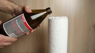 What will happen if you pour the acetone on the foam plastic balls