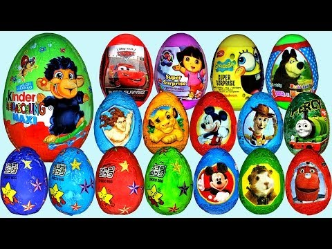 80 Surprise eggs. Маша и Медведь Kinder Surprise Mickey Mouse Disney Pixar Cars 2