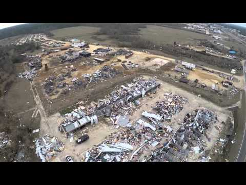 Aerial view of tornado damage in Columbia Mississippi
