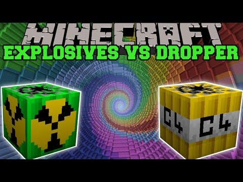 MORE EXPLOSIVES MOD VS THE DROPPER - Minecraft Mods Vs Maps (Nukes, Bombs, C4)