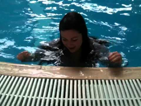 Girl thrown in pool on last day of work fully clothed!