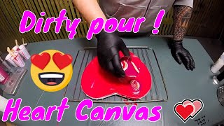 Acrylic Paint Pouring - Dirty Pour Painting on Heart Canvas - Love is in the air !