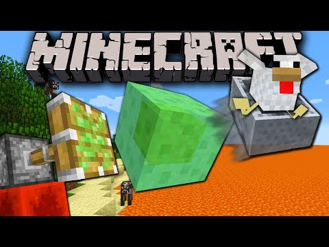 Minecraft 1.8 Snapshot: Slime Flying Machine Sticky Piston Bounce Block Arrow Cannon Lava Ocean