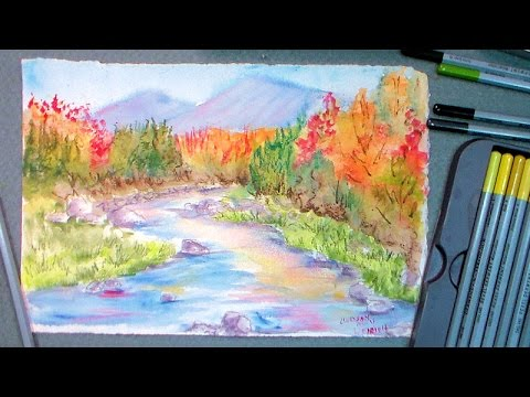 How to paint fall foliage in watercolor pencils