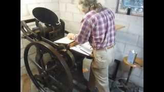 PRINTING LEFTHANDED ON A 10x15 C&P LETTERPRESS AT NICHOLAS SILBERG'S NEW SHOP IN SAVANNAH, GA