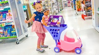 Shopping in toy store with Funny Kid and Cute Baby Doll Video for children