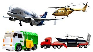 Learn Transport Vehicles and Cars for Children Toys Trucks, Helicopter, Tractor, Ambulance